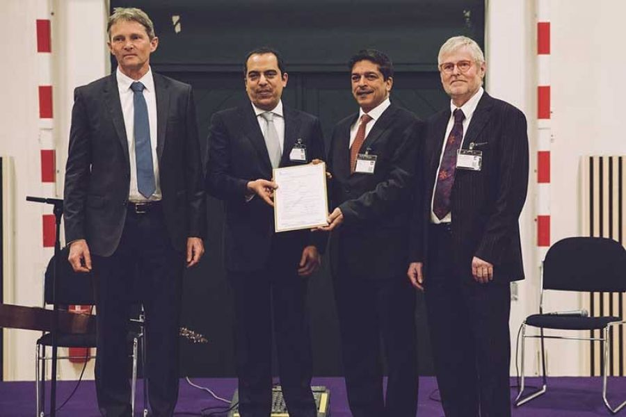 AJ Pharma acquired Danish Government's Vaccine Production Business. From L-R: Professor Mads Melbye, CEO Statens Serum Institute, Sheikh Abdulaziz Hamad Al Jomaih, Chairman AJ Pharma Group, Dr Tabassum Khan, Chairman AJ Vaccines and Managing Director AJ Pharma Group, and Klaus Hermansen, CEO AJ Vaccines.