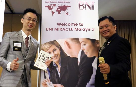 (From left to right): Adi Afendi and Marcus Teoh, BNI Miracle chapter co-founders at the Big Business Opportunity Day