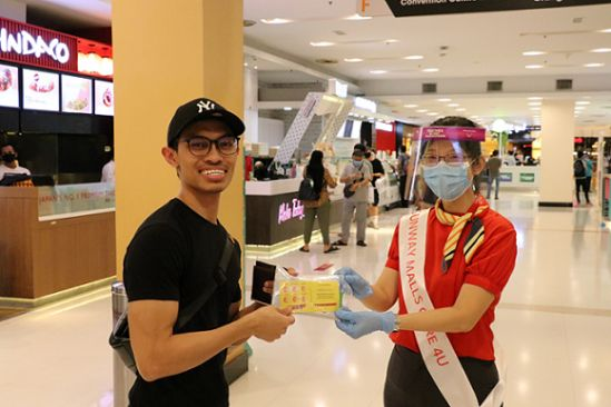 Social Distancing Officers and Care Ambassadors patrol the malls and provide assistance to shoppers by dispensing hand sanitisers and masks